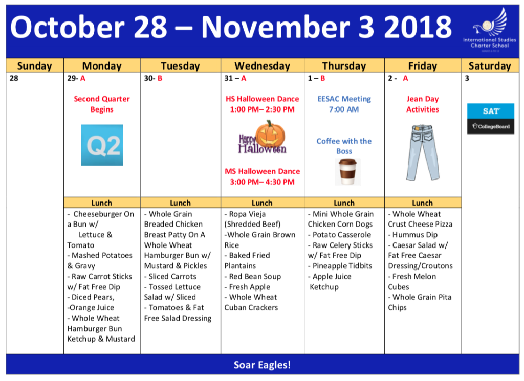 Lunch Menu Oct 29–Nov 2