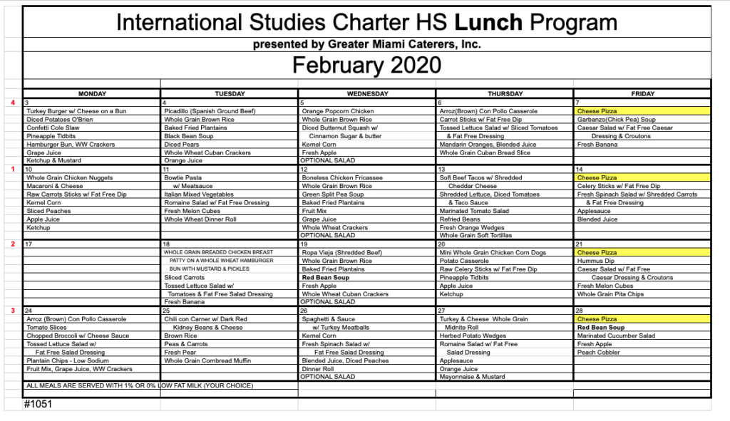 February Lunch Menu 2020